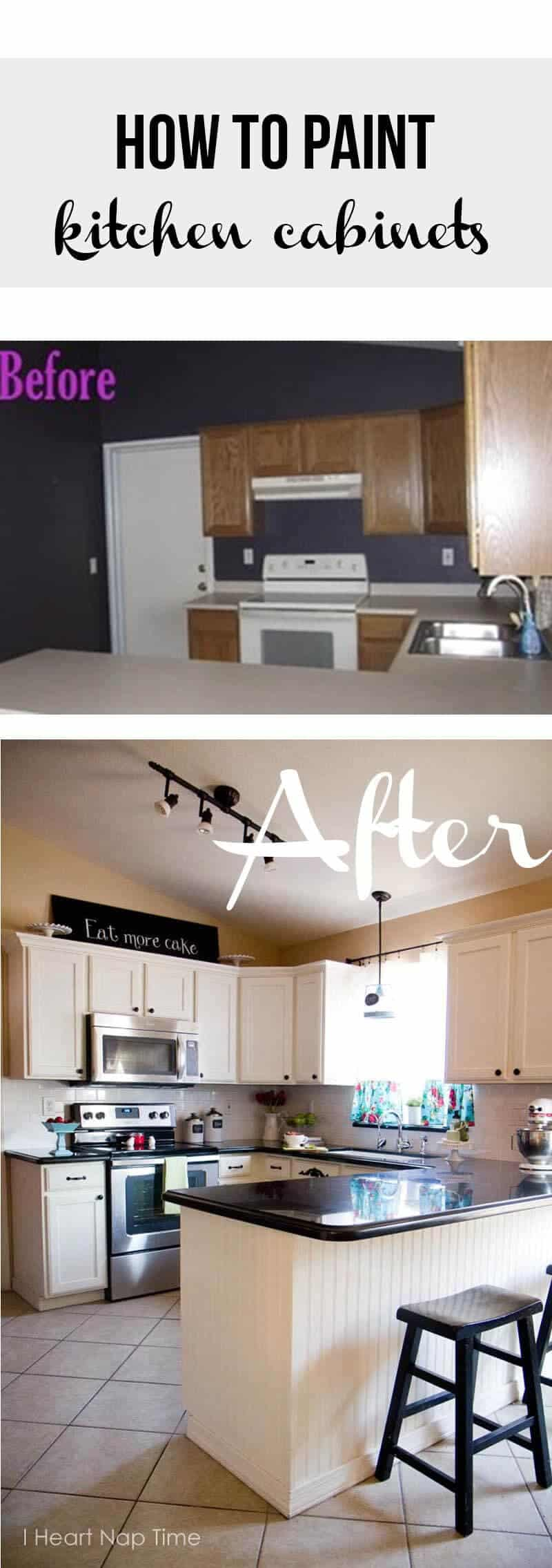 How to paint kitchen cabinets white i heart nap time for Diy kitchen cabinets