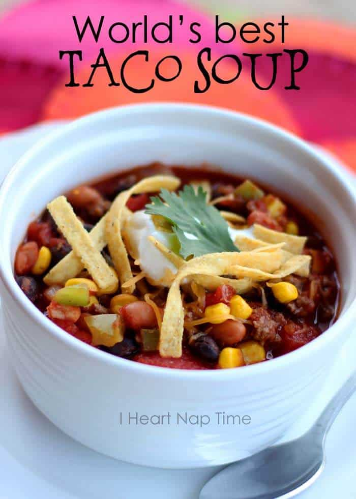 World's best taco soup ... make in 1 pot in less than 30 minutes! #dinner #recipes