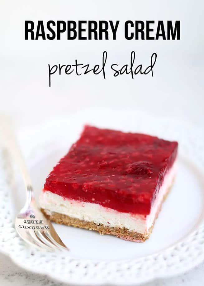 Raspberry pretzel salad