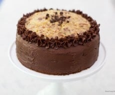 German Chocolate Cake with coconut frosting - a rich chocolate cake with a smooth, sweet and nutty caramel like frosting.