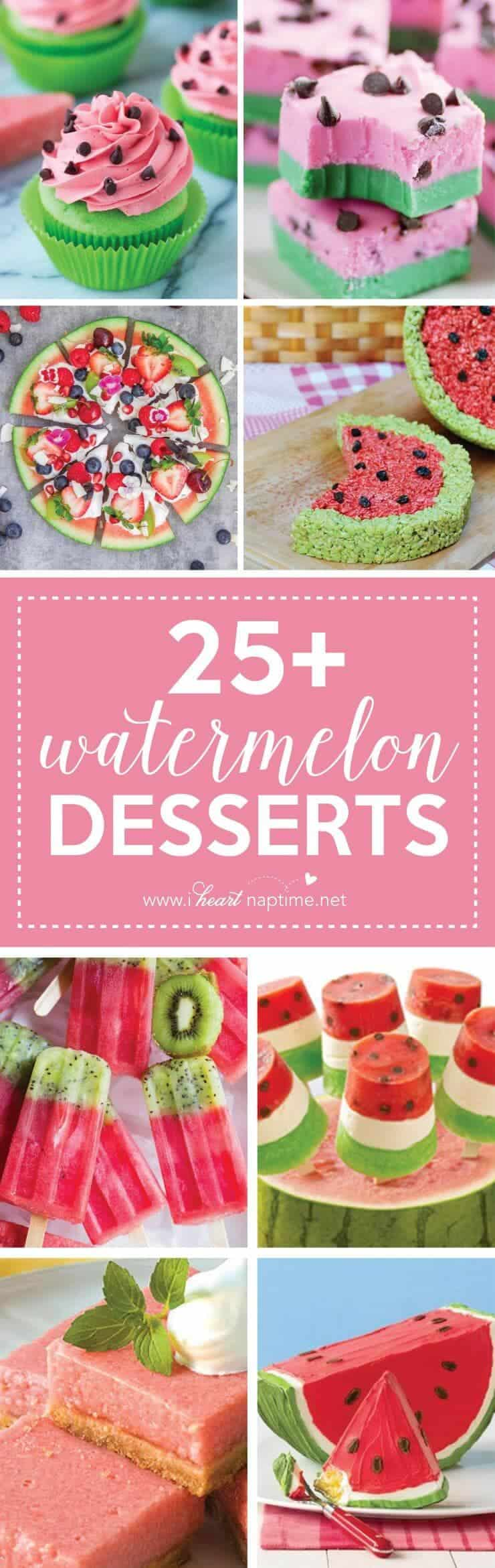 "25 Mouth-Watering Watermelon Desserts and Recipes...the perfect refreshment that shouts, ""Summertime is here!"""