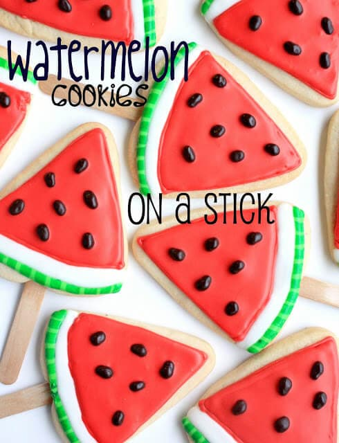 "Watermelon Cookies on a Stick + 25 Mouth-Watering Watermelon Desserts...the perfect refreshment that shouts, ""Summertime is here!"""