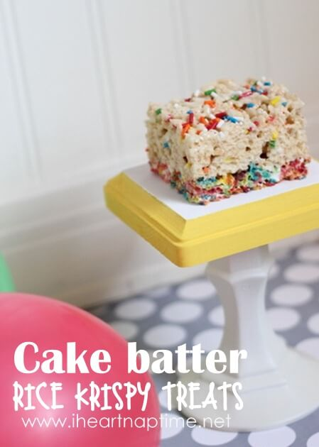 cake batter rice krispy treat