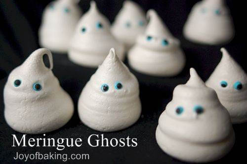 Meringue Ghosts on table