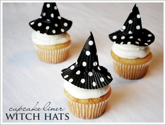 witch cupcakes on table