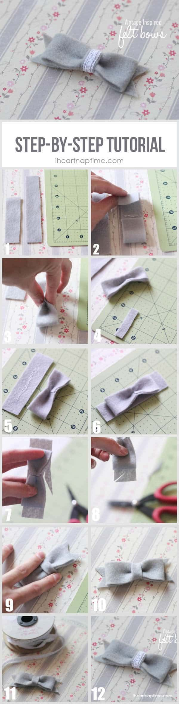 Felt bow step-by-step tutorial on I Heart Nap Time