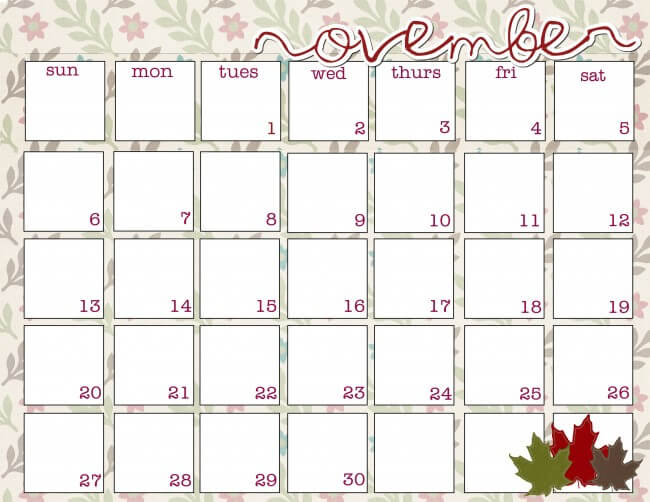 November Printable Calendar Free Download