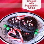 Chewy Chocolate #Cookies with peppermint chips