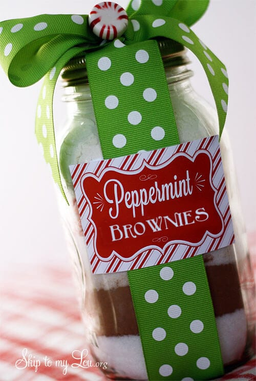 peppermint brownie in jar gift idea