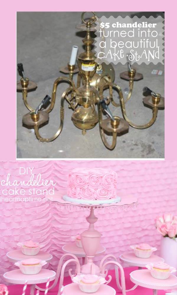 DIY Cake Stand Gorgeous centerpiece made from an old Chandelier – Stand Up Chandelier
