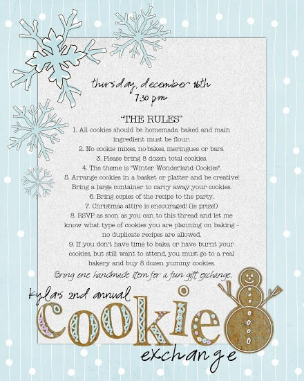 Printable Cookie Exchange Invitations as nice invitations layout