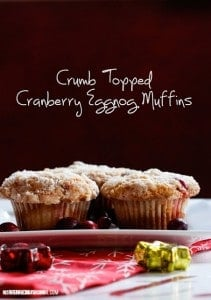 Crumb Topped Cranberry Eggnog #Muffins #Recipe