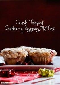 Crumb Topped Cranberry Eggnog #Muffins #Recipe
