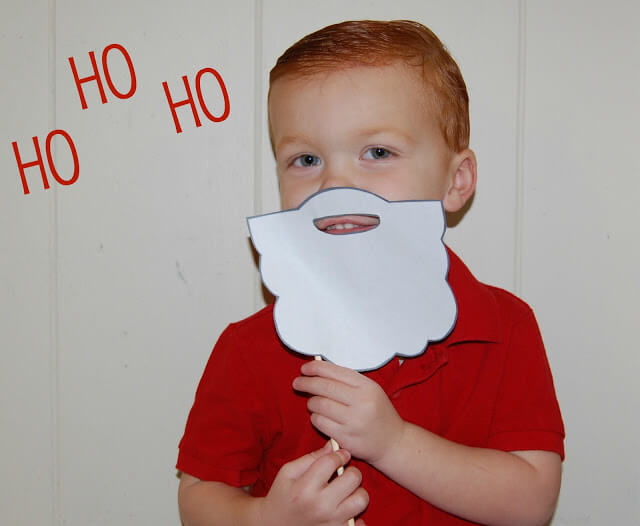 ... cut out the Santa beard template and attach a thin dowel. Easy right