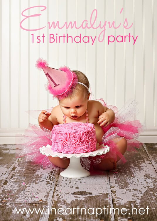 Pretty in pink first birthday party i heart nap time for Baby first birthday decoration ideas