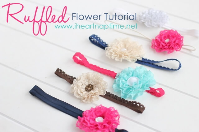 Make these gorgeous ruffled lace flowers for less than a buck! Find the tutorial on iheartnaptime.net #crafts