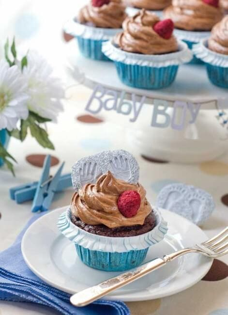 gluten free Chocolate Raspberry Cupcakes on plate