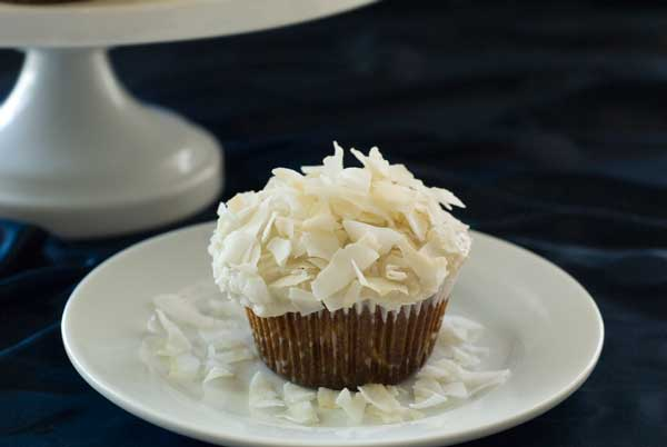 gluten free Coconut Cupcake on table