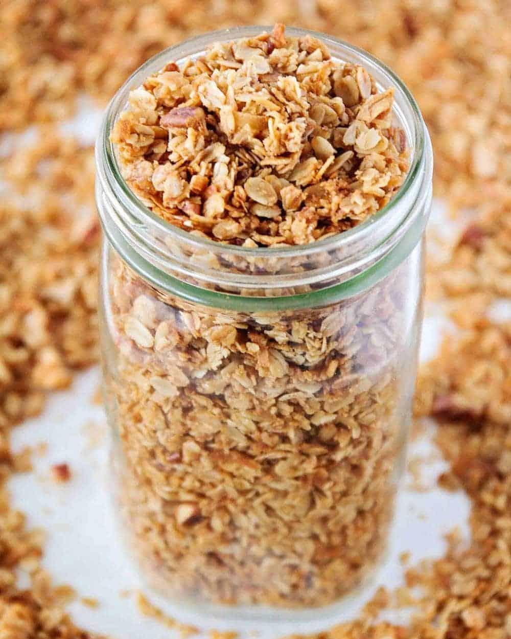 homemade granola in a glass mason jar