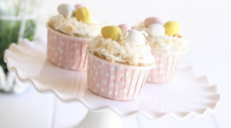 Easter cupcakes w/ toasted coconut & eggs