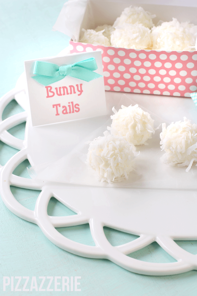 bunny tails dessert sitting on plate with sign