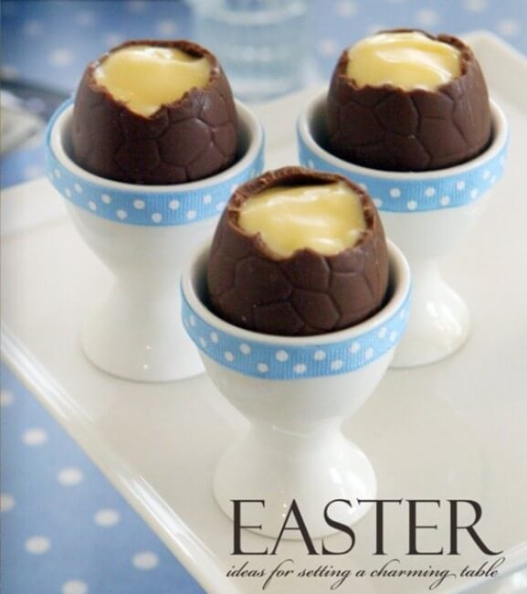 easter custard eggs on table
