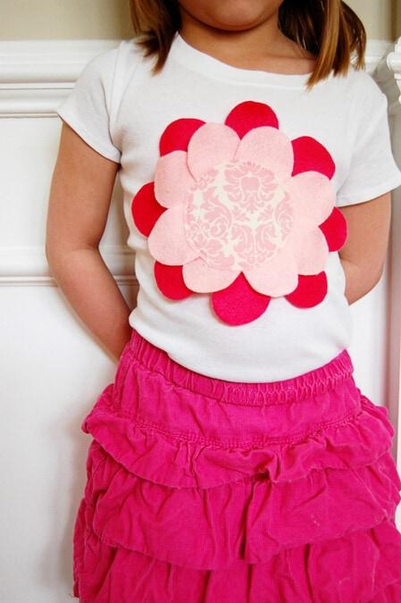 felt flower petal shirt