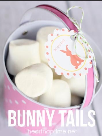 """Bunny tails"" on iheartnaptime.net ... fill a bag/basket with marshmallows and tie your tag on. Cute and easy!"