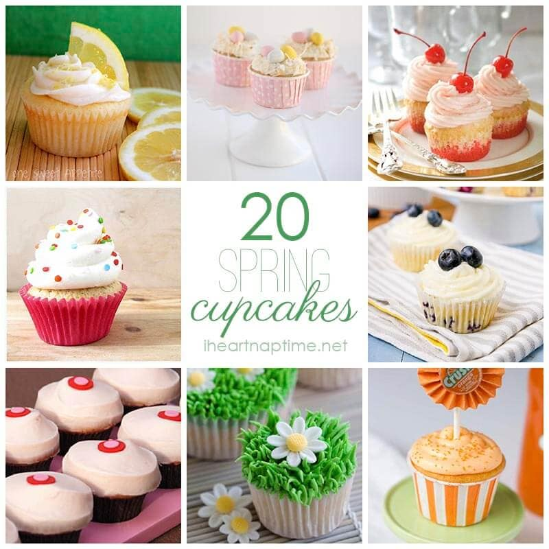 20 delicious Spring cupcakes on I Heart Nap Time