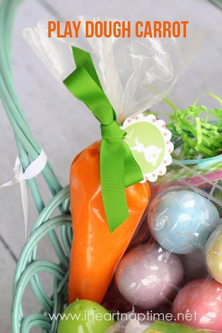 Play dough carrot from iheartnaptime.net ... just stick play dough in a frosting bag and tie with ribbon. Great idea!
