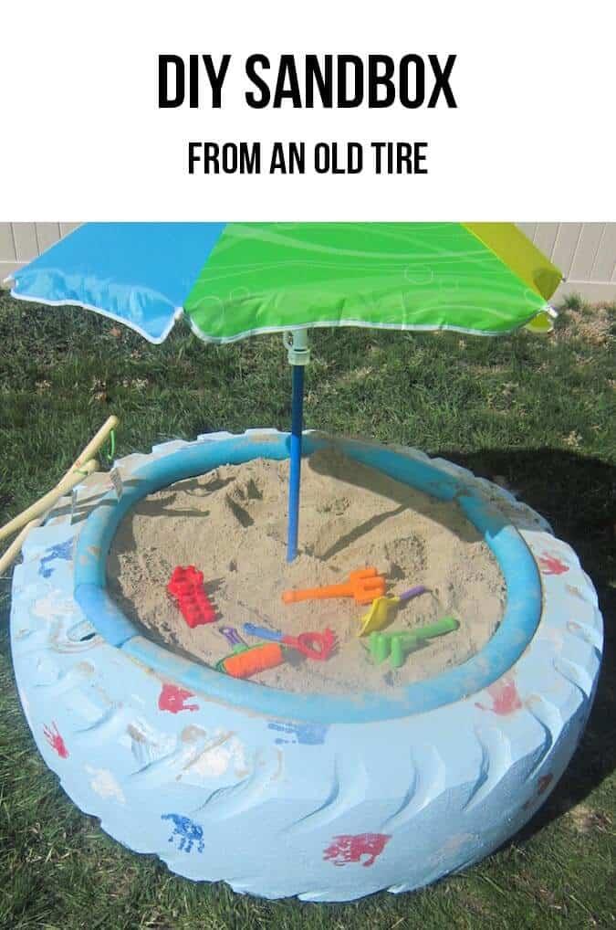 DIY sandbox from an old tire! Such a cool idea! #DIY #tutorial