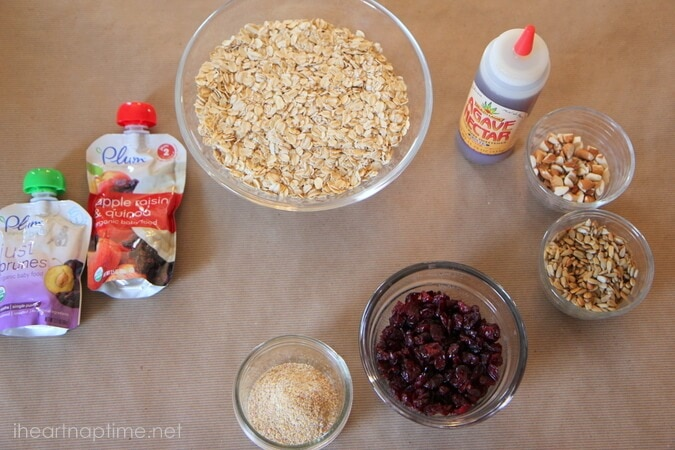 ingredients for homemade granola bars on counter