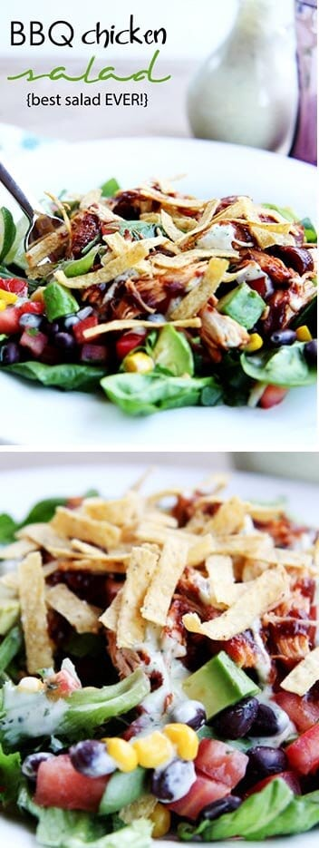 BBQ chicken salad recipe-my absolute favorite salad! This is a hearty chopped salad tossed with fresh greens, BBQ chicken, black beans, corn, tomatoes, peppers, avocado, tortilla strips and a cilantro lime dressing.