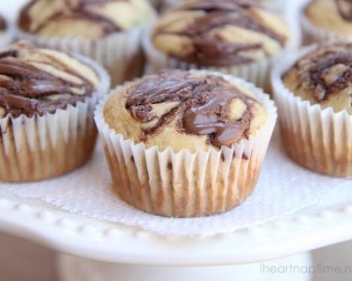 a close up of a banana nutella muffin