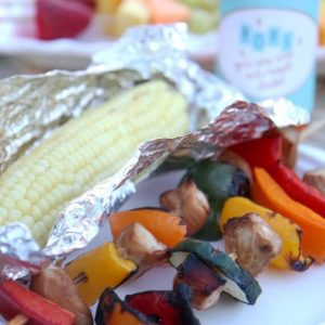 Chicken shish kabobs and grilled corn