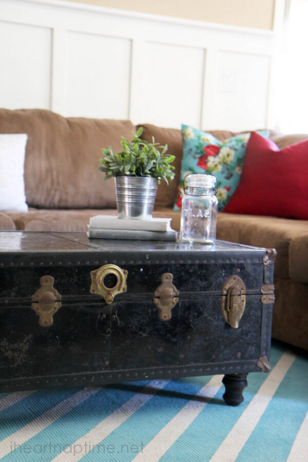 living room trunks. how to make rugs How with paint  Pictured TUTORIAL