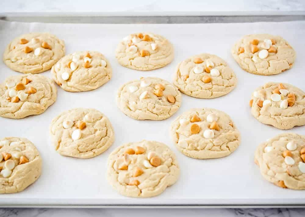 butterscotch cookies on a baking sheet