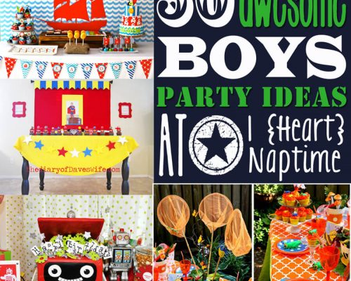 collage of boy's birthday party ideas