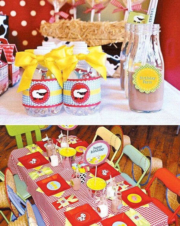 barnyard birthday party table and decorations