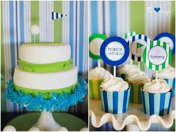 blue and green cake and cupcakes
