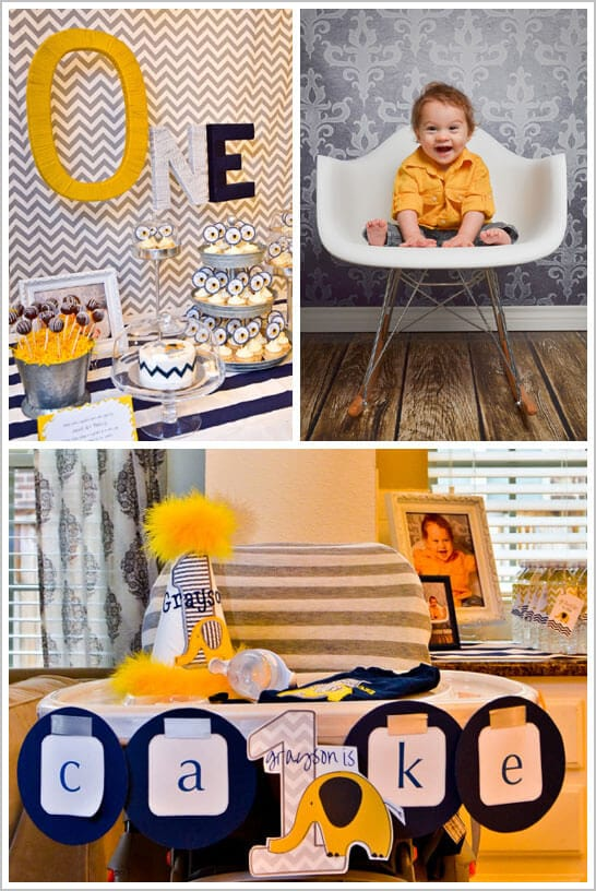 chevron and elephant birthday party decorations