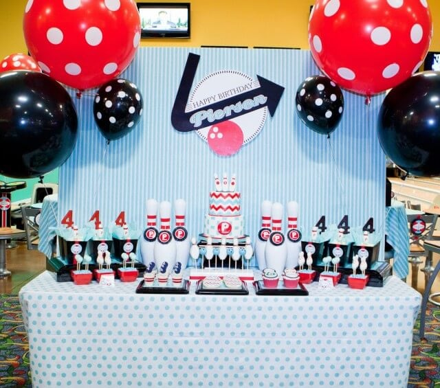 retro bowling birthday party table
