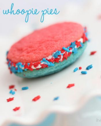 a close up of a red, white and blue jello cookie