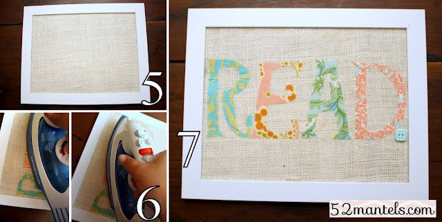 Fabric word art pictured tutorial i chose to iron on the letters after the burlap was framed but you could iron on the letters and then frame the spiritdancerdesigns Images