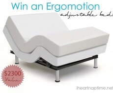 Win an Ergomotion adjustable bed on iheartnaptime.net #giveaway