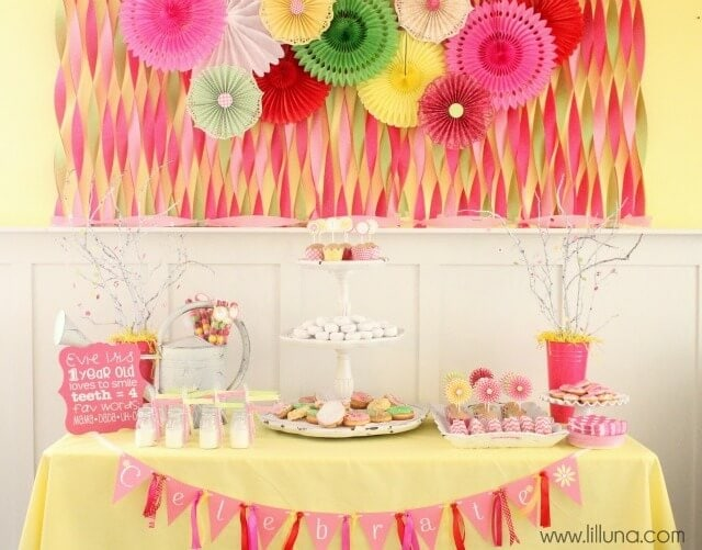 50 birthday party themes for girls i heart nap time for Baby girl birthday party decoration ideas
