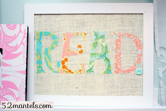 Super cute fabric word art.