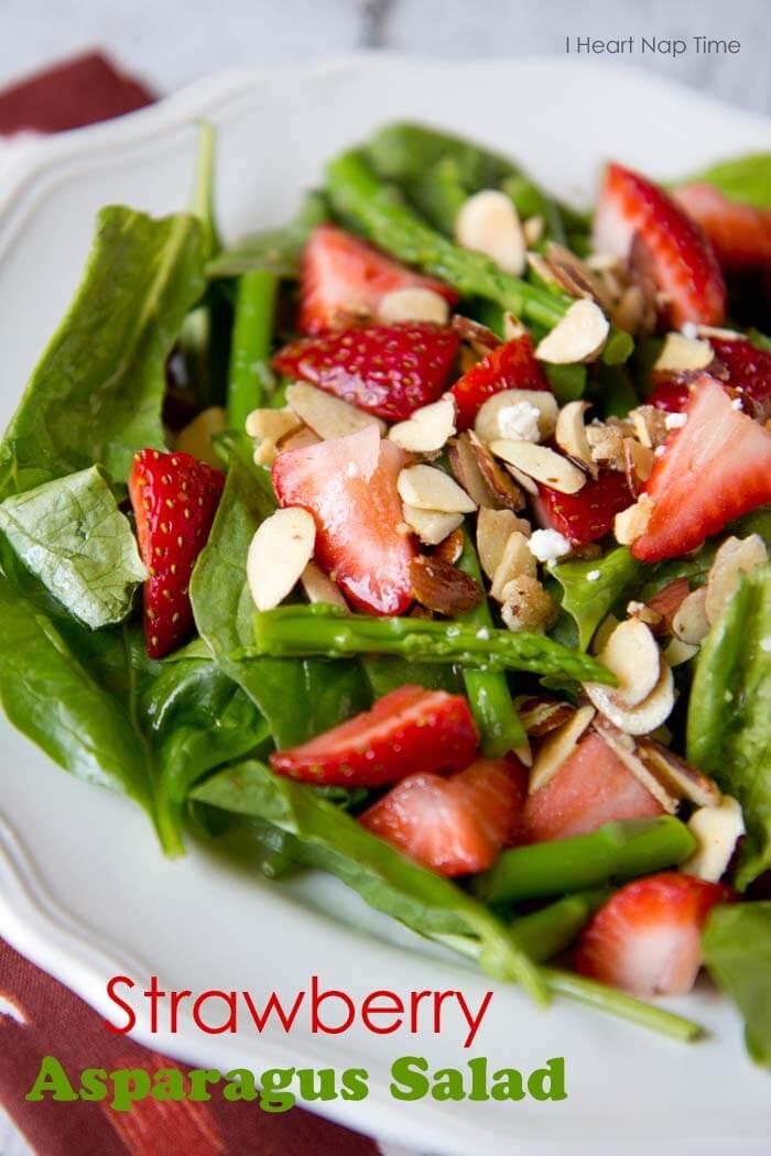 a close up of strawberry asparagus salad