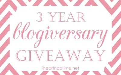 3 year Blogiversary on iheartnaptime.net - over 1600 in prizes!