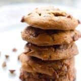 a stack of pumpkin cinnamon chip cookies